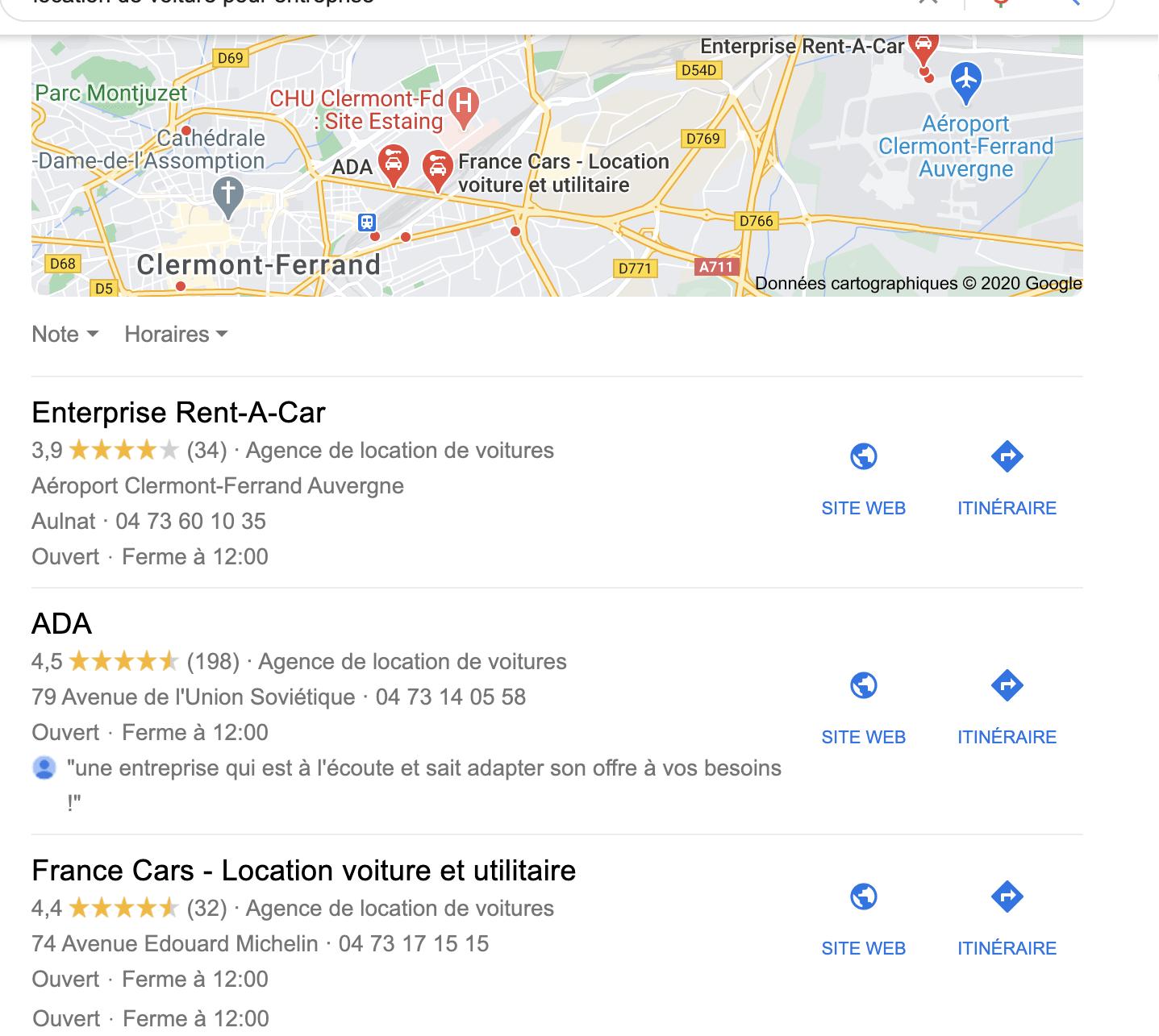 entonnoir de vente google map